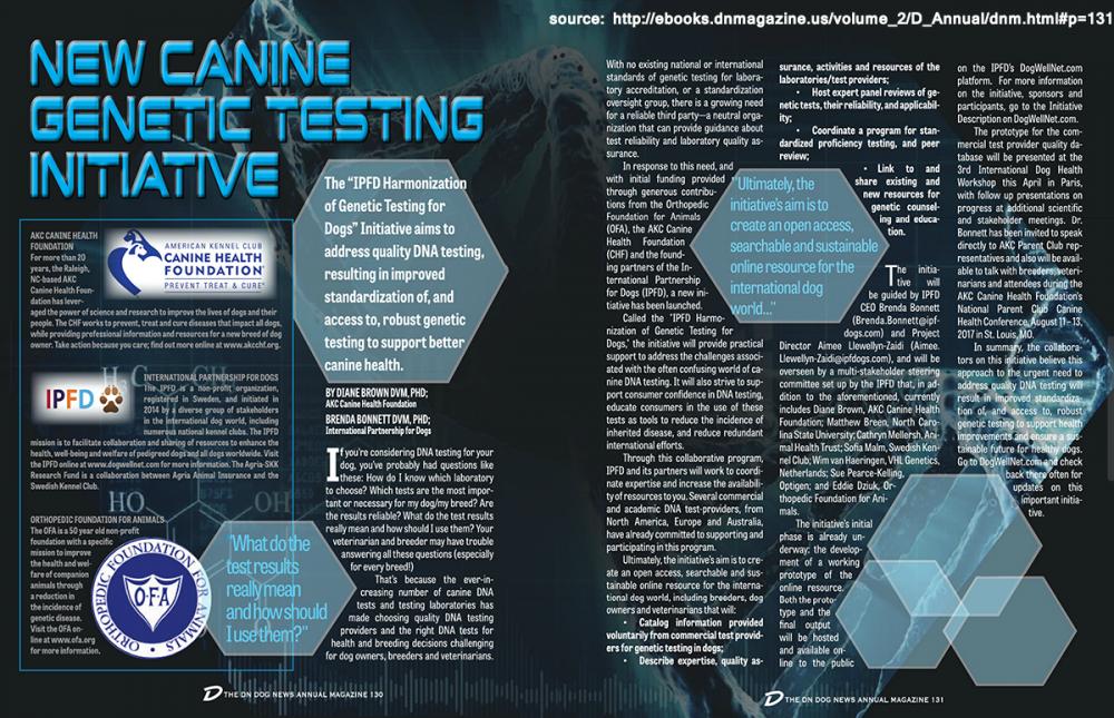 Dog News - AKC-CHF- New Canine Genetic Testing Initiative